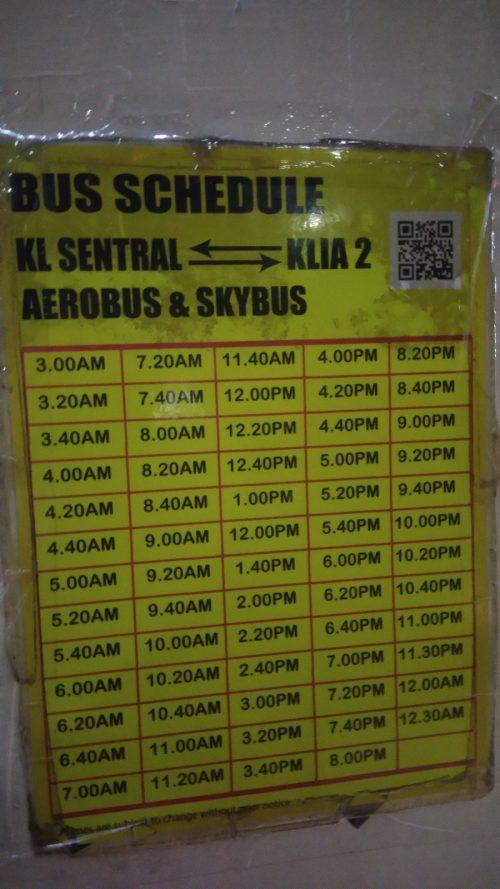 Horarios Autobús Aeropuerto de Kuala Lumpur