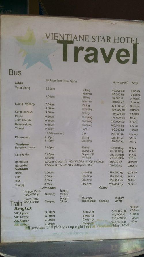Itinerario de los autobuses desde Vientiane a Vang Vieng