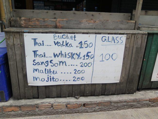 Combinados de alcohol en Tailandia