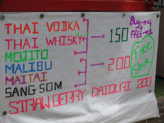 Precio Alcohol en Tailandia