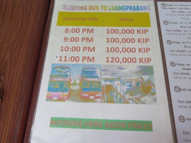 Precios de autobuses Laos