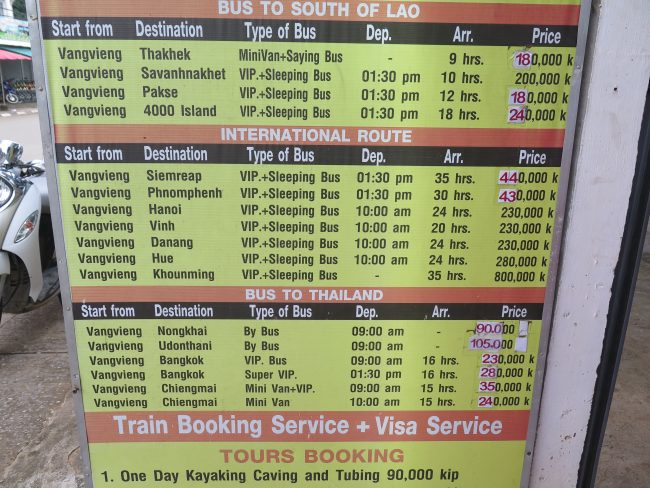 Horarios autobuses internacionales Vang Vieng