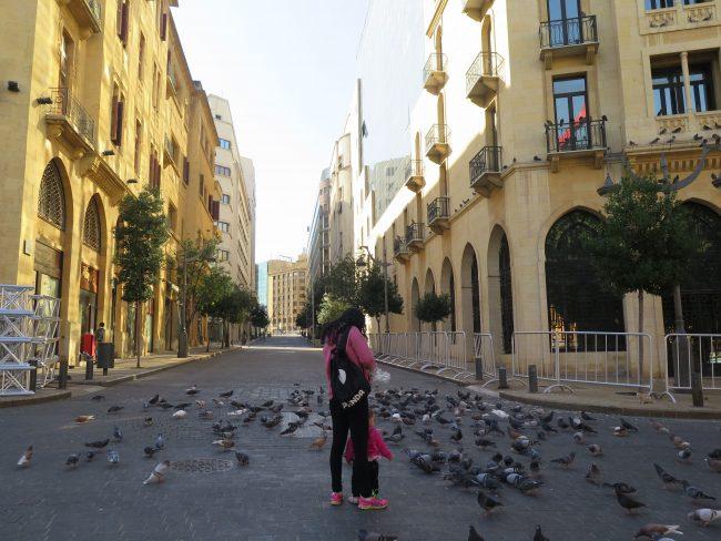 Calles vacías en el Centro de Beirut