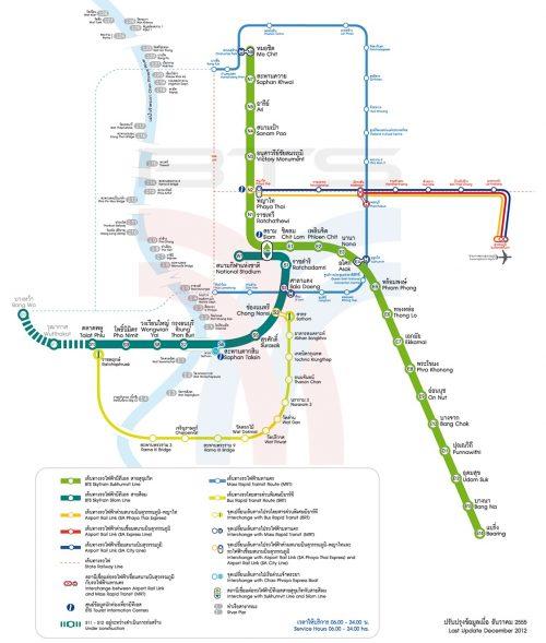 Mapa del transporte público en Bangkok