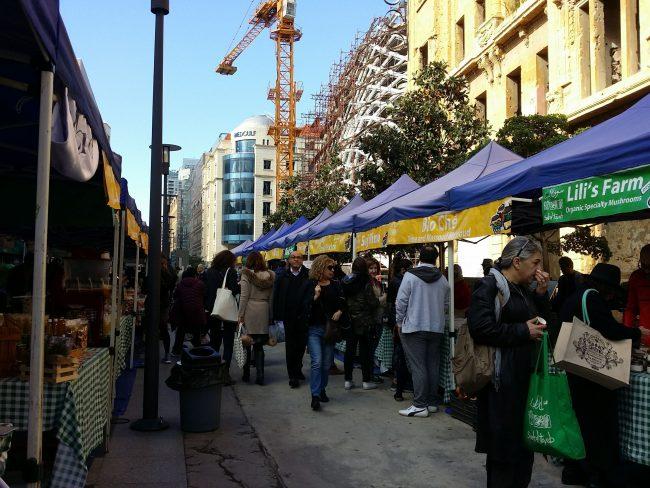 Mercado de productos ecológicos en Beirut