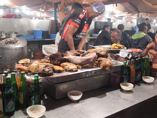 Los puestos de comida en la Plaza de la Jemaa
