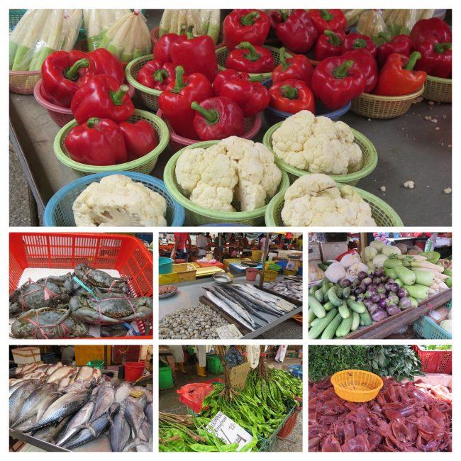 Productos vendidos en los wet markets de Malasia