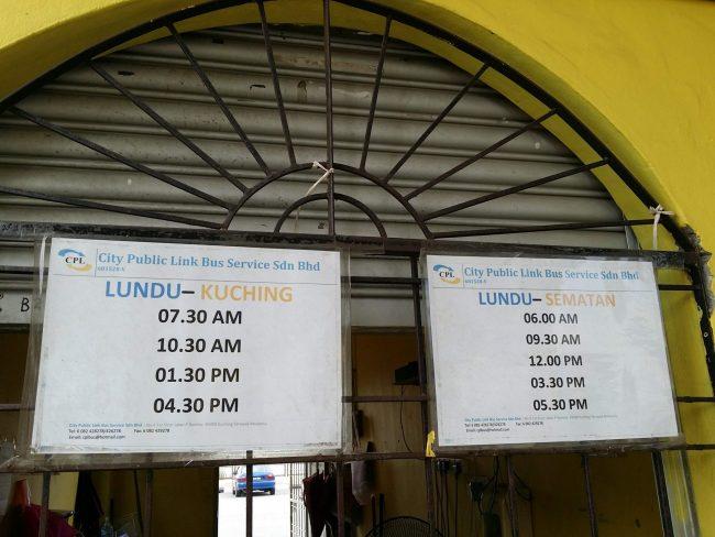 Horario de autobuses Kuching - Lundu