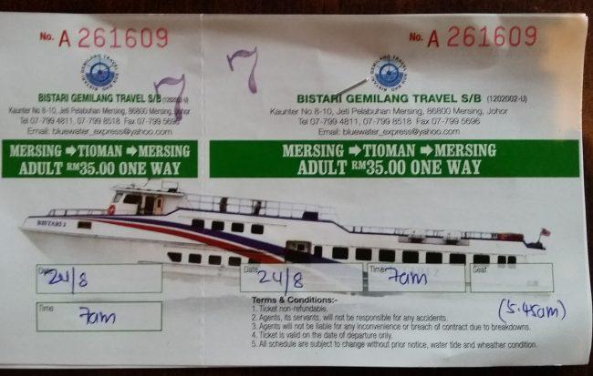 Billetes de barco Mersing - Tioman - Mersing
