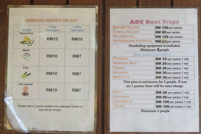 Precios alquileres y taxi boat en Tioman