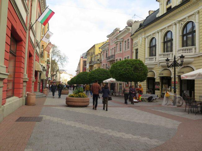 Las calles peatonales del centro de Plovdiv