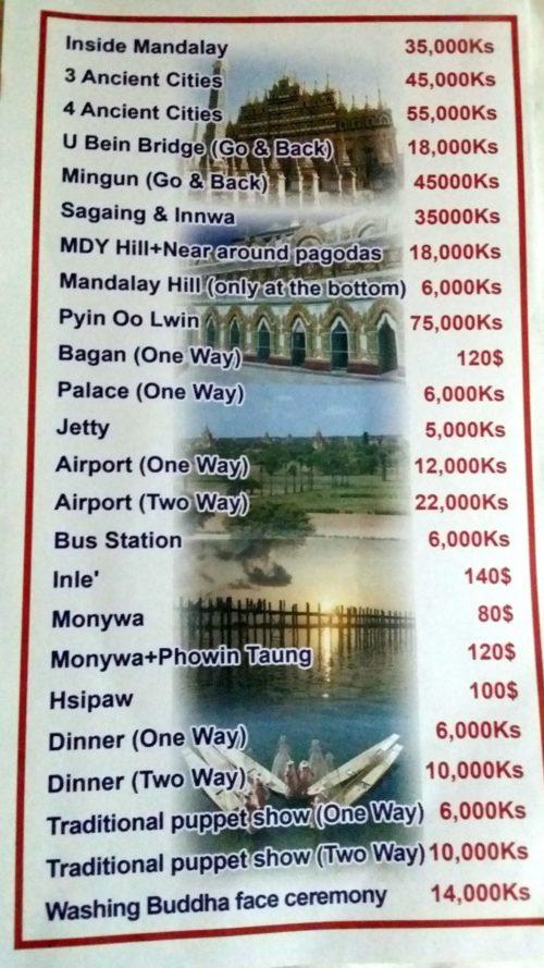 Precio de las excursiones en coche en Mandalay