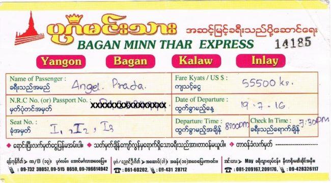 Precios autobuses Myanmar