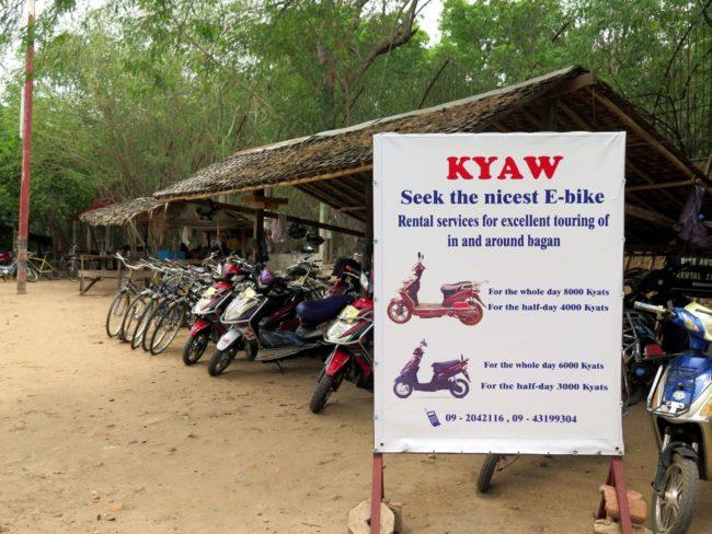 Precio alquiler de bicicletas y motos en Bagan