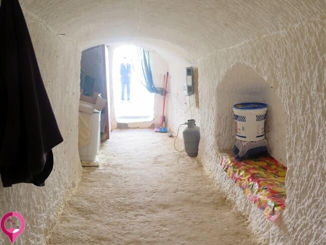 Interior de una casa troglodita de Túnez